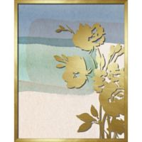 """""""Flower Silhouette"""" 16-Inch x 20-Inch Shadowbox Wall Art in Gold/Blue"""