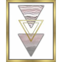 """Triangles"" 16-Inch x 20-Inch Shadowbox Wall Art in Pink"