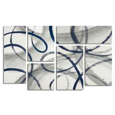 Trademark Fine Art Calligraphia Navy 3.9-Foot x 2.3-Foot Multi Panel Canvas Wall Art