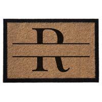 """Infinity Monogram Letter """"R"""" 3-Foot x 5-Foot Door Mat in Natural"""