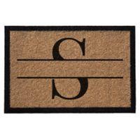 """Infinity Monogram Letter """"S"""" 3-Foot x 6-Foot Door Mat in Natural"""