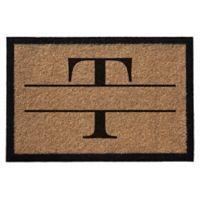 """Infinity Monogram Letter """"T"""" 3-Foot x 6-Foot Door Mat in Natural"""