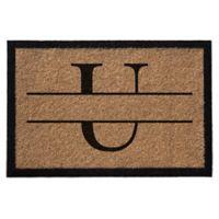 """Infinity Monogram Letter """"U"""" 3-Foot x 6-Foot Door Mat in Natural"""