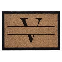 """Infinity Monogram Letter """"V"""" 3-Foot x 6-Foot Door Mat in Natural"""