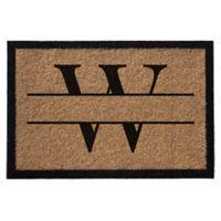 """Infinity Monogram Letter """"W"""" 3-Foot x 6-Foot Door Mat in Natural"""