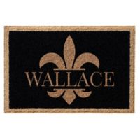 Infinity Fleur de Lis 3-Foot x 5-Foot Door Mat in Black