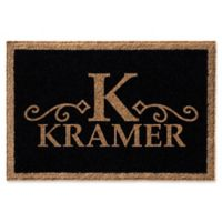 Infinity Monogram Letter 2-Foot x 3-Foot Door Mat in Black