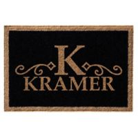 Infinity Monogram Letter 3' x 5' Door Mat in Black
