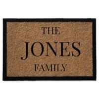 Infinity Single Border Family Name 2-Foot x 3-Foot Door Mat in Natural