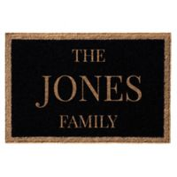 Infinity Door Mats Single Border Family Name 3-Foot x 5-Foot Door Mat in Black