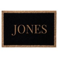 Infinity Single Border Name 2-Foot x 3-Foot Door Mat in Black