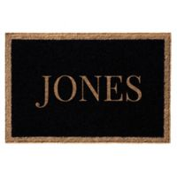 Infinity Door Mats Single Border Name 3-Foot x 5-Foot Door Mat in Black