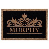 Infinity Murphy Monogrammed 24-Inch x 36-Inch Door Mat in Black