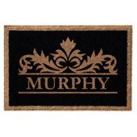 Infinity Murphy Monogrammed 3' x 6' Door Mat in Black