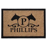 Infinity Horse Head Silhouette with Monogram Letter 2-Foot x 3-Foot Door Mat in Natural