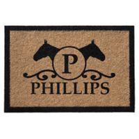 Infinity Door Mats Horse Head with Monogram Letter 3-Foot x 5-Foot Door Mat in Natural