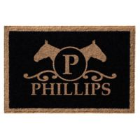 Infinity Door Mats Horse Head with Monogram Letter 3-Foot x 5-Foot Door Mat in Black