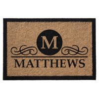 Infinity Monogram Letter 3-Foot x 6-Foot Door Mat in Natural