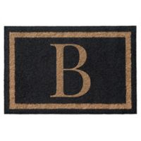 Infinity Single Monogrammed 3-Foot x 5-Foot Door Mat in Black