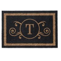 Infinity Scroll Monogrammed 2-Foot x 3-Foot Door Mat in Black