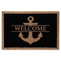 Anchor Welcome 24-Inch x 36-Inch Door Mat in Black