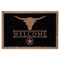 Infinity Longhorn 2-Foot x 3-Foot Door Mat in Black