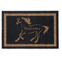 Infinity Stallion Welcome 2-Foot x 3-Foot Door Mat in Black