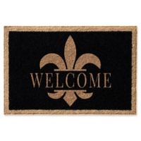Infinity Fleur de Lis Welcome 2-Foot x 3-Foot Door Mat in Black