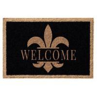 Infinity™ Fleur De Lis Welcome 3' x 6' Door Mat in Black