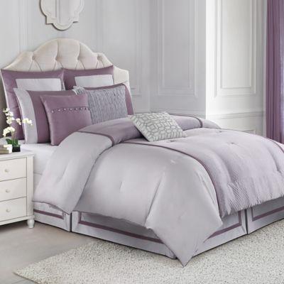 judith ripka textured jacquard queen comforter set in purple