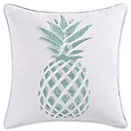 Coastal Living® Ocean Stripe Pineapple Square Throw Pillow in White/Blue