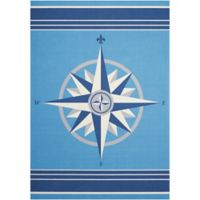 Nourison Waverly Sun & Shade Compass Rose 5'3 x 7'5 Indoor/Outdoor Rug in Blue