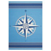 Nourison Waverly Sun & Shade Compass Rose 10' x 13' Indoor/Outdoor Rug in Blue