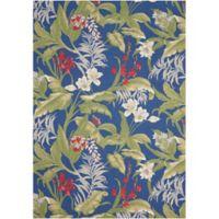 Nourison Waverly Sun & Shade Floral 7'9 x 10'10 Indoor/Outdoor Area Rug in Aqua