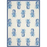 Nourison Waverly Sun and Shade Pineapple 5'3 x 7'5 Indoor/Outdoor Rug in Ivory/Blue