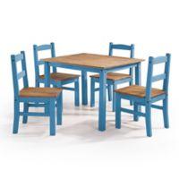 Manhattan Comfort York 5-Piece Solid Wood Dining Set in Blue Wash
