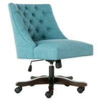 Safavieh Soho Tufted Velvet Swivel Desk Chair in Light Blue