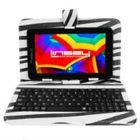 Linsay® 7-Inch Quad Core Tablet with Keyboard, Earphones and Pen in Zebra