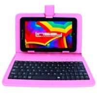 Linsay® 7-Inch Quad Core Tablet with Keyboard, Earphones and Pen in Black/Pink