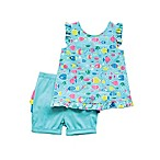 Planet Cotton® Size 6M 2-Piece Fish Tunic and Rainbow Ruffle Bloomer Short in Aqua