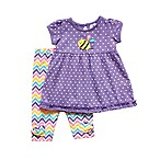 Planet Cotton® 9M 2-Piece Busy Bee Baby Doll Tunic and Chevron Capri Pant Set in Purple
