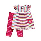 Planet Cotton® Size 6M 2-Piece Striped Flower Tunic and Ruffle Pant in Pink