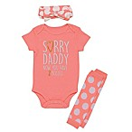 "Baby Starters® Size 6M 3-Piece ""Sorry Daddy"" Bodysuit, Leg Warmer, and Headband Set in Pink"