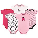 Luvable Friends® Size 6-9M 5-Pack French Poodle Short Sleeve Bodysuits in Pink