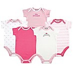 Luvable Friends® Size 6-9M 5-Pack Tiara Short Sleeve Bodysuits in Pink