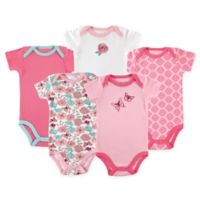 Luvable Friends® Size 6-9M 5-Pack Butterfly Short Sleeve Bodysuits in Pink/Green