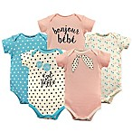Luvable Friends® Size 0-3M 5-Pack  Bonjour  Short Sleeve Bodysuits in Pink/Turquoise