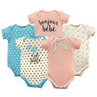 "Luvable Friends® Size 3-6M 5-Pack ""Bonjour"" Short Sleeve Bodysuits in Pink/Turquoise"