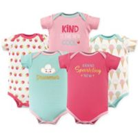 """Luvable Friends® Size 18-24M 5-Pack """"Brand Sparkling New"""" Short Sleeve Bodysuits in Aqua/Pink"""