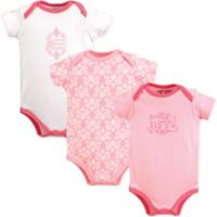 "Luvable Friends® Size 6-9M 3-Pack ""Pretty in Pink"" Short Sleeve Bodysuits in Pink"